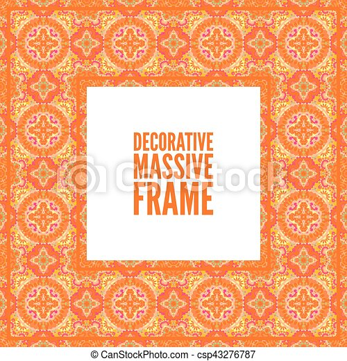 08d2ba1c92ac Decorative Colorful Square Frame With Lace Ornament. Oriental Style. Card  Template With Place For