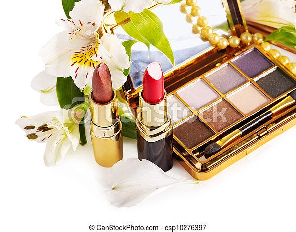 Decorative cosmetics and flower. - csp10276397