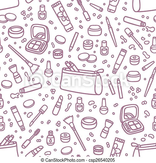 Decorative cosmetics outlined seamless pattern - csp26540205