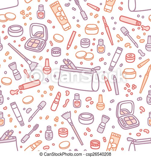 Decorative cosmetics seamless pattern - csp26540208