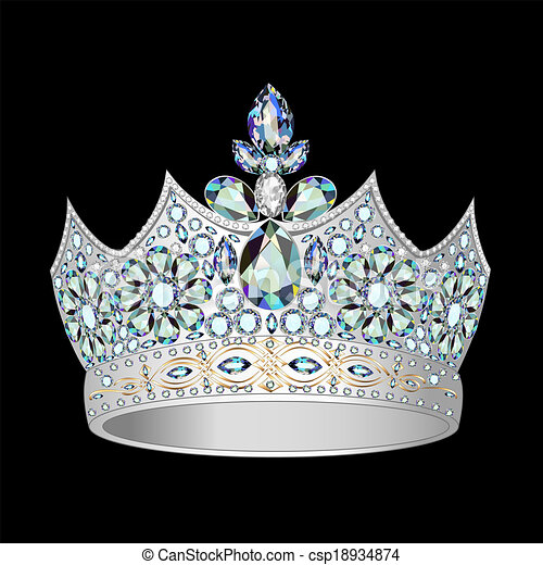 decorative crown of silver and precious stones - csp18934874