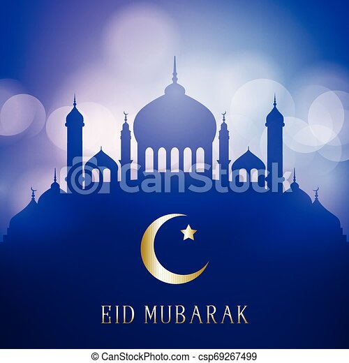 Decorative Eid Mubarak background with mosque silhouettes on a bokeh lights design - csp69267499