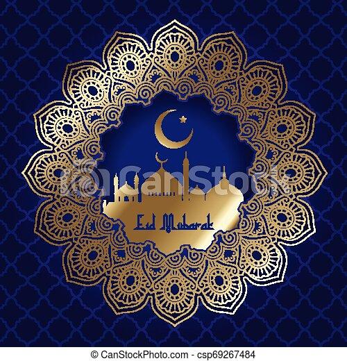 Decorative Eid Mubarak background with mosque silhouette - csp69267484