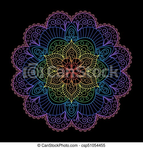 Decorative Element Rainbow Mandala on Black Backgrund. - csp51054455