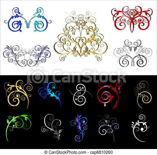 decorative elements, grens, gekleurde - csp6810260