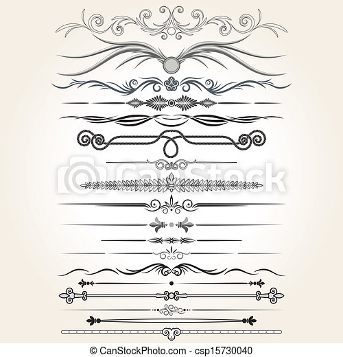 decorative elements, vector, regel, lines., ontwerp - csp15730040