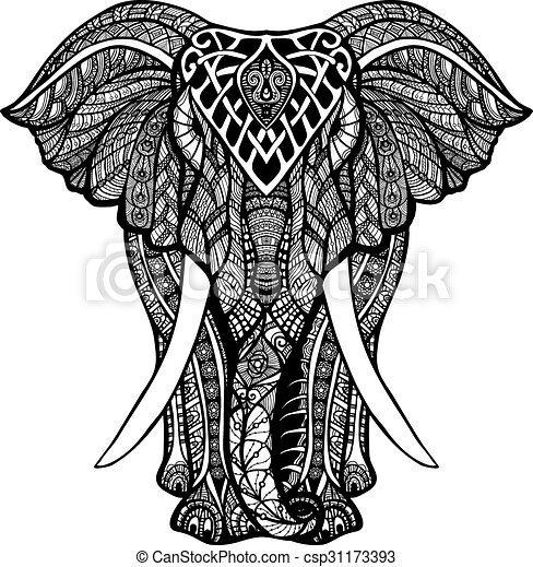 Decorative elephant illustration. Decorative elephant ...