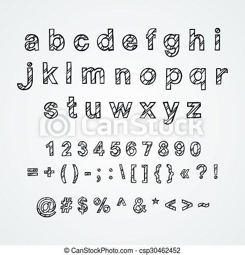 Decorative English Alphabet Hand Drawn Lower Case