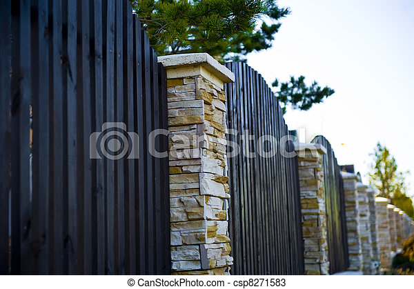 decorative fence with columns - csp8271583