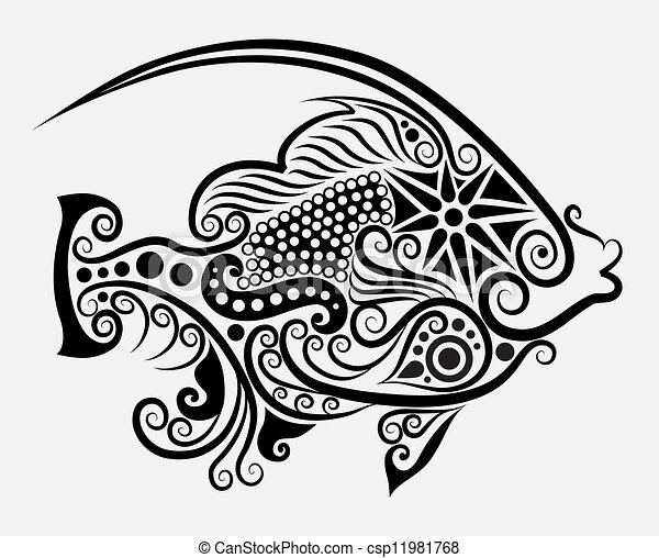 Decorative Fish 2 Fish Drawing With Floral Ornament