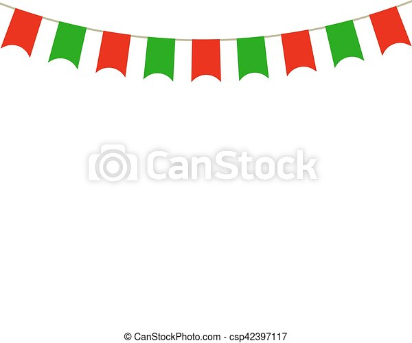Decorative Flags On Greeting Card Template For A Happy  Vector