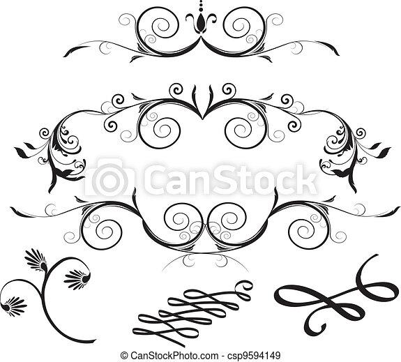 Decorative Floral Design Elements  - csp9594149