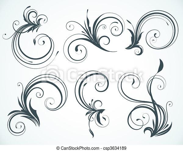 decorative floral elements  - csp3634189