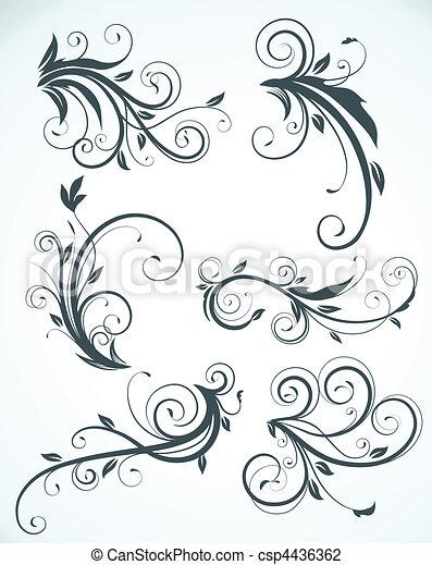 Decorative Floral Elements Vector Illustration Set Of Swirling
