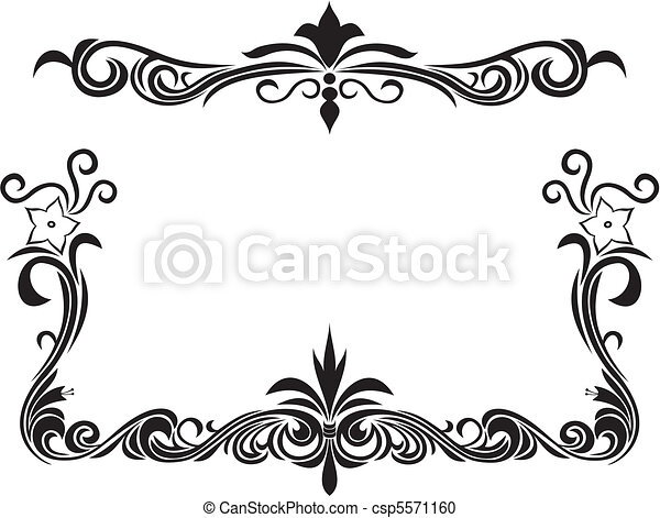 Decorative floral frame. Black and white decorative frame with ...