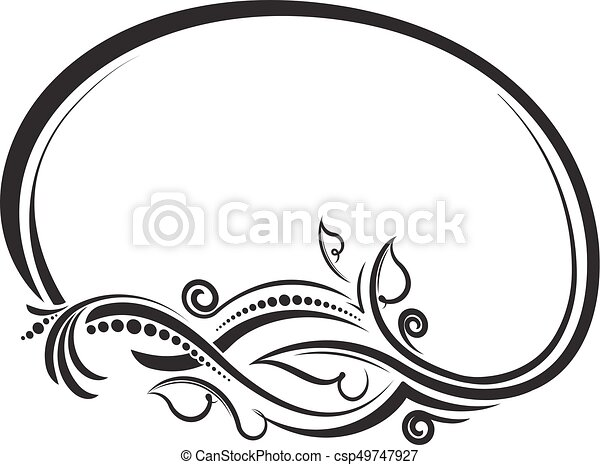 decorative floral oval black vector frame vector illustration rh canstockphoto com frame vector download frame vector art
