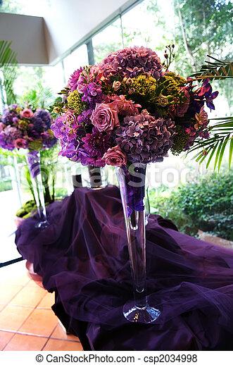 Decorative Flower Arrangements On Purple Tablecloth Image Of