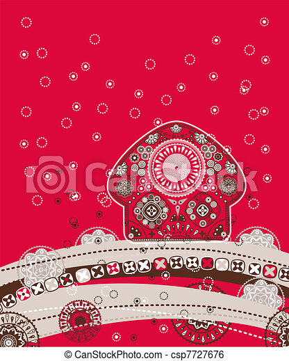 decorative folk background - csp7727676