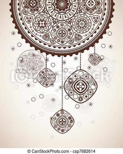 Decorative folk graphic background - csp7682614