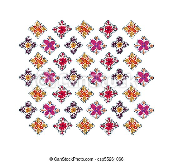 Decorative folk pattern background. - csp55261066