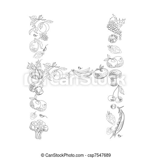 Decorative font letter h decorative font with fruit and eps decorative font letter h csp7547689 altavistaventures Choice Image