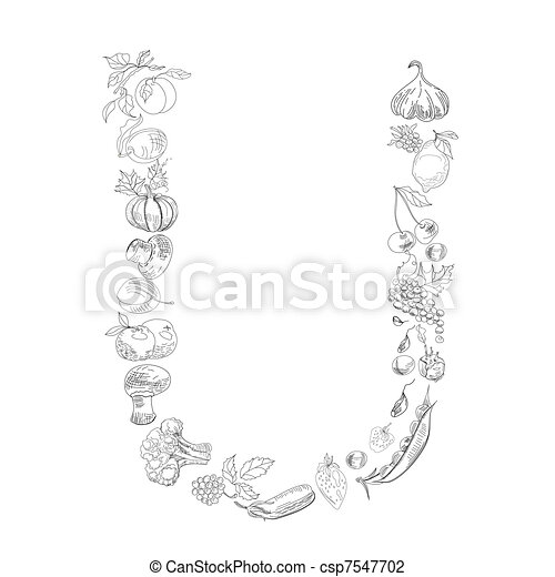 Decorative Font Letter U Decorative Font With Fruit And Vegetable