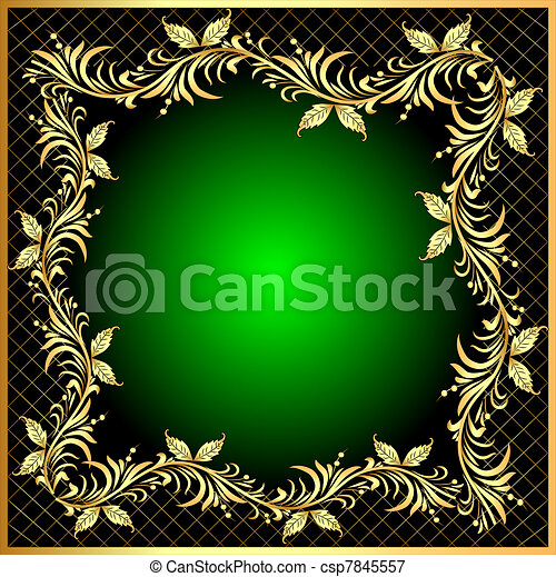 decorative frame background with gold(en) pattern with net - csp7845557