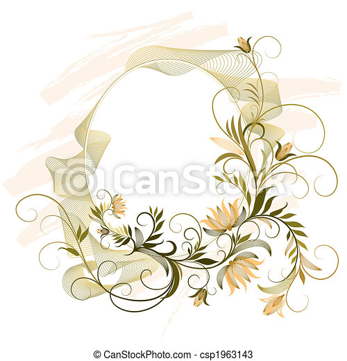 Decorative Frame With Floral Ornament - csp1963143