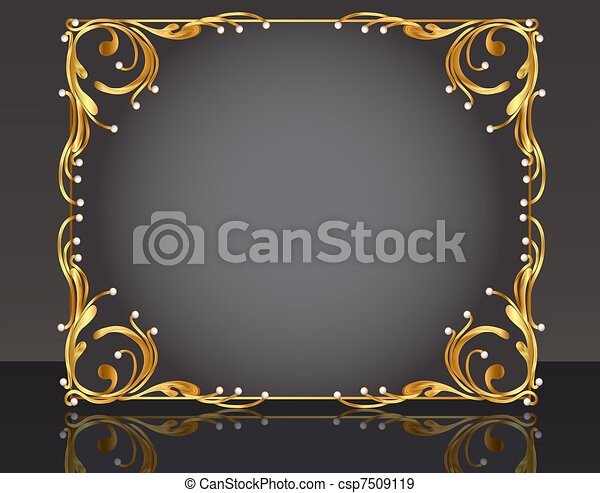 decorative frame with pattern gold pearl - csp7509119