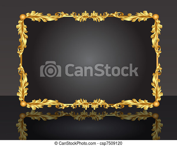 decorative frame with pattern gold sheet - csp7509120
