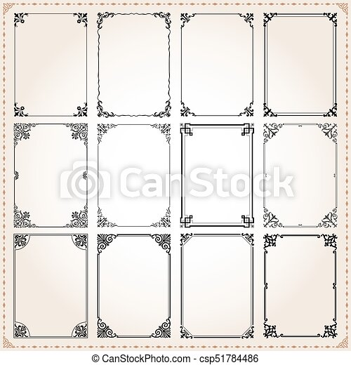1304b95f618 Decorative frames and borders rectangle proportions set 7 - csp51784486