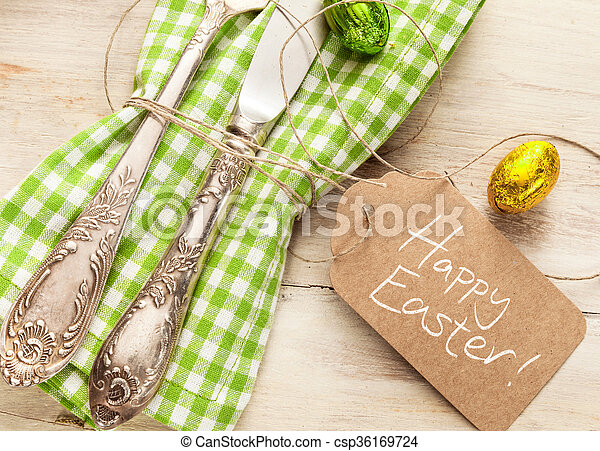 Decorative fresh spring Easter table setting - csp36169724