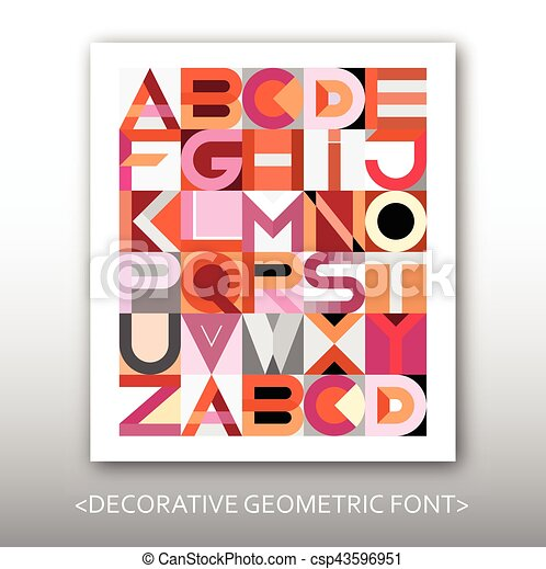 Decorative Geometric Vector Font - csp43596951
