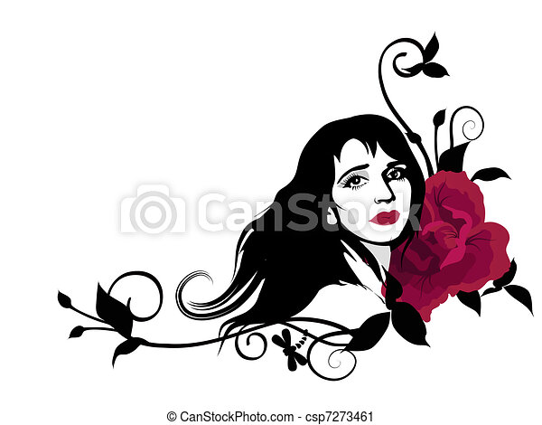 Line Drawing Face Woman : Decorative girl stylish clipart with beautiful face