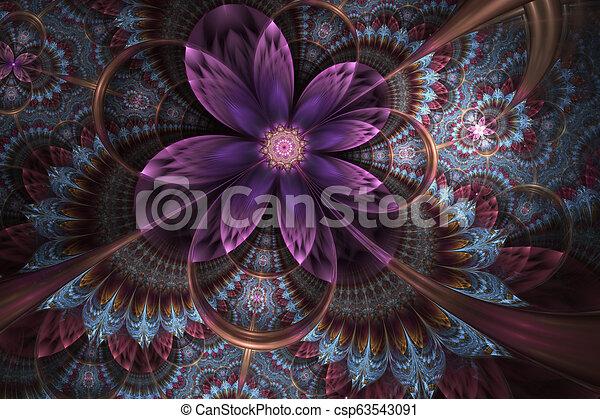 Decorative glossy flower digital artwork graphic. - csp63543091
