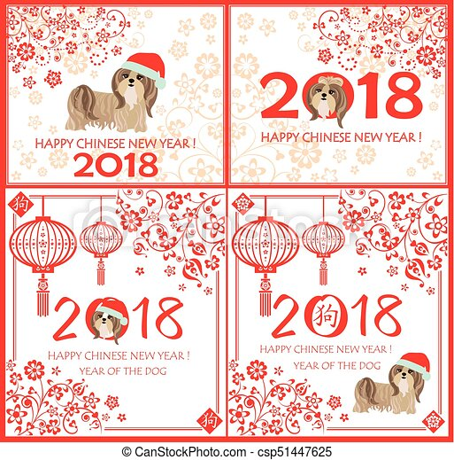 Decorative greeting card collection with puppy of shi tsu and Yorkshire terrier for Chinese New year 2018 - csp51447625