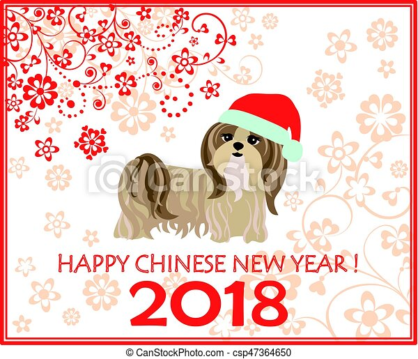 Decorative greeting card with puppy of shi tsu for Chinese New year 2018 - csp47364650