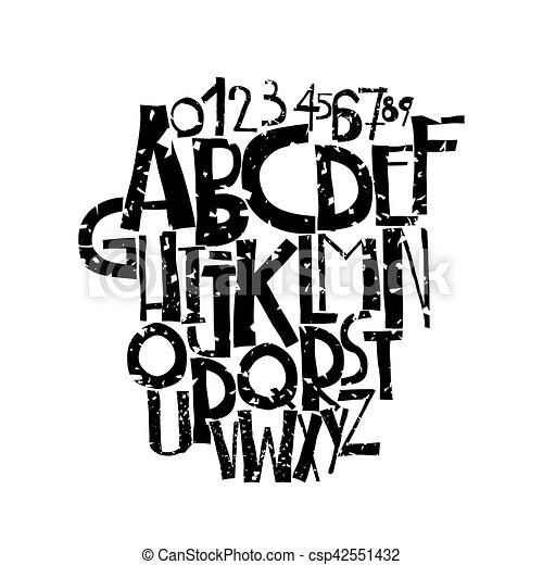 Decorative Grunge Font In Bold Letters