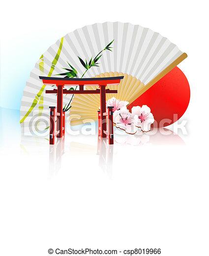 Decorative Japanese background - csp8019966