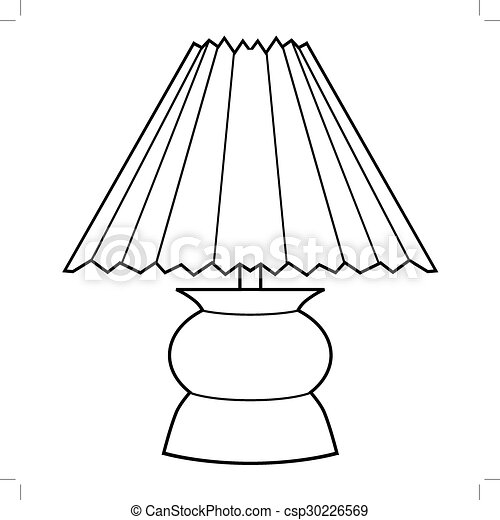 Outline Illustration Of Decorative Lamp