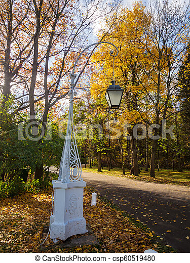 decorative lantern in autumn park - csp60519480