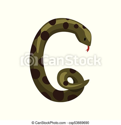 Decorative Letter G Made Of Green Snake With Black Spots Cartoon