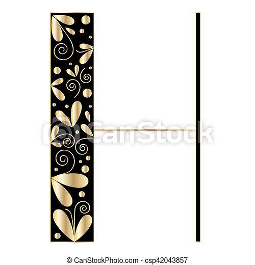 Decorative letter shape font type h black and gold colors clipart decorative letter shape font type h csp42043857 altavistaventures Choice Image