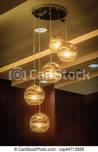 Decorative Light Bulb Glowing In Cafe. Idea For Shop Decoration. Vintage  Tone   Csp44713828