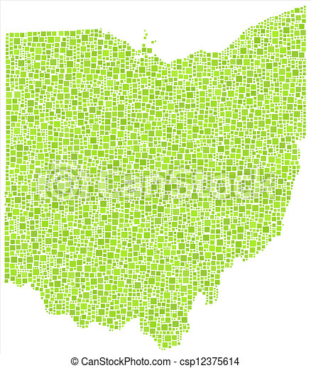 Decorative Map Of Ohio Usa Map Of Ohio Usa In A Mosaic Of