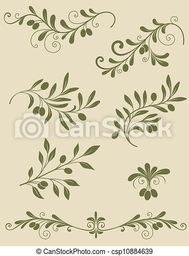 Decorative olive branch - csp10884639