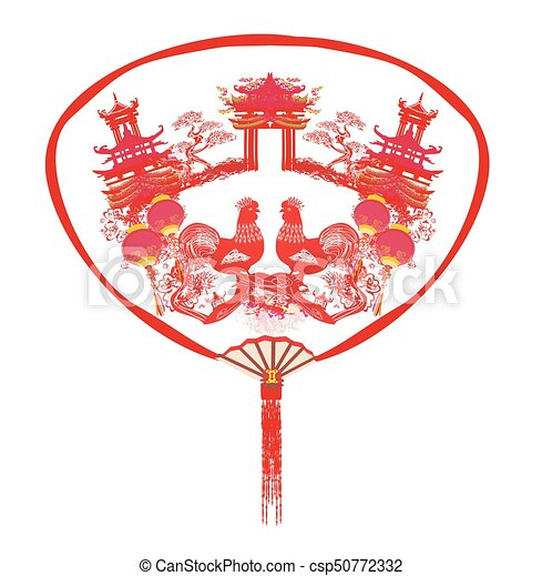 Decorative opened fan with patterns of Year of rooster design for Chinese New Year - csp50772332