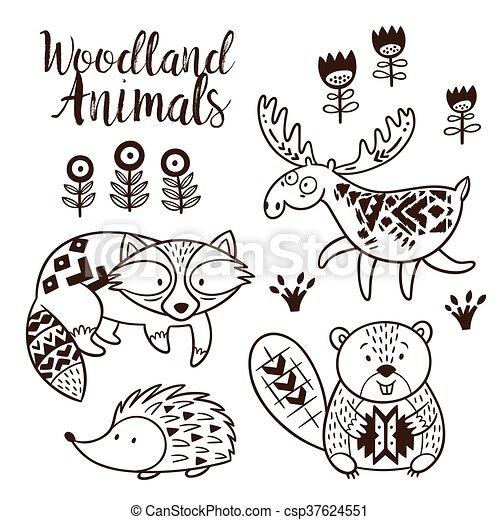 Decorative Ornamental Woodland Animals Vector Set