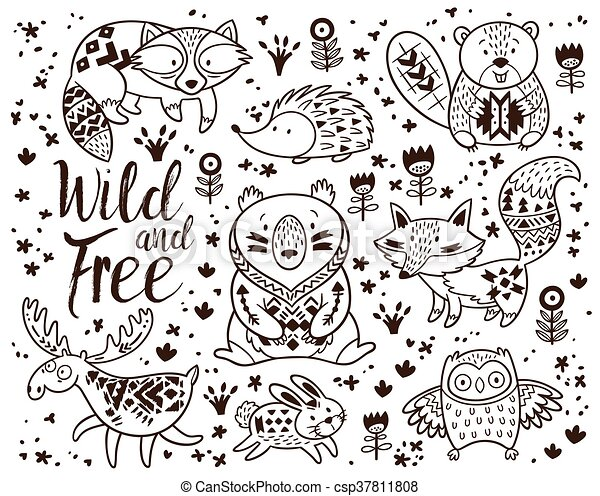 Decorative Ornamental Woodland Animals Vector Set. Woodland Animal Coloring  Pages For Kids. Hand Drawn Vector On A White CanStock