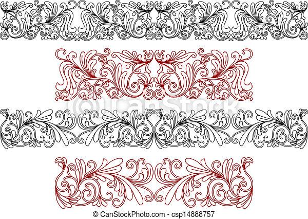Decorative ornaments and borders - csp14888757
